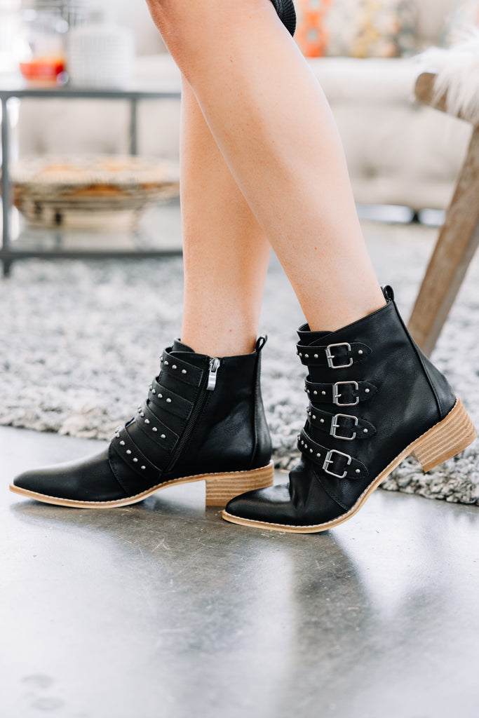 Stone Cold Ice Black Buckle Booties
