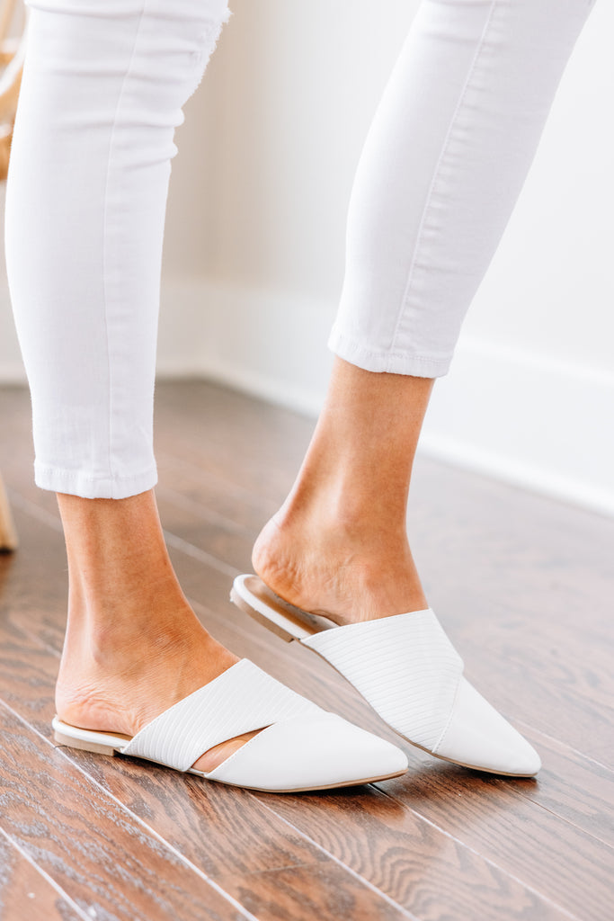 Easy Decisions White Flat Mules