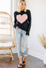 All For Love Black And Pink Heart Sweater