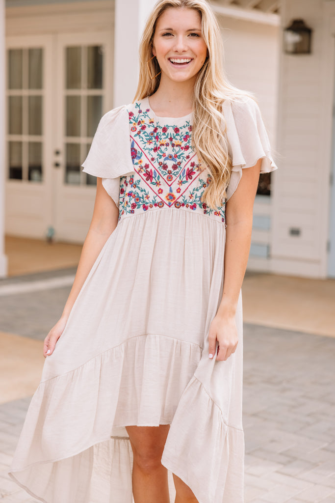 hi-lo embroidered dress
