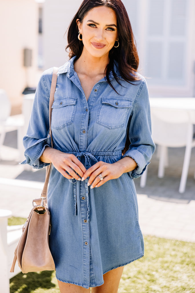 By This Time Blue Chambray Dress