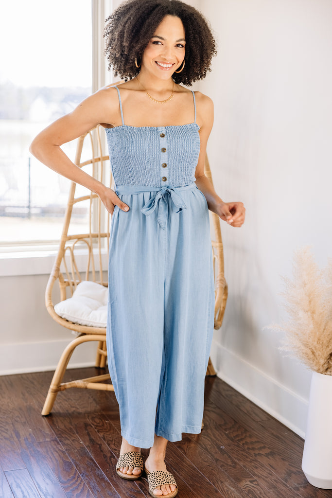 Let's Go Out Blue Smocked Jumpsuit