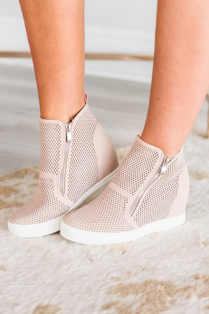 Better Get A Move On Wedge Sneakers, Blush