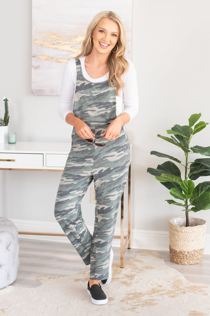 Always Right Olive Green and Charcoal Gray Camo Print Jumpsuit