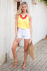 top, tank, yellow tank, hannahg, hannah g, hannah godwin, solid yellow tank, solid, scallops, scalloped tank, summer tank, hannah g tank, simple, easy to style