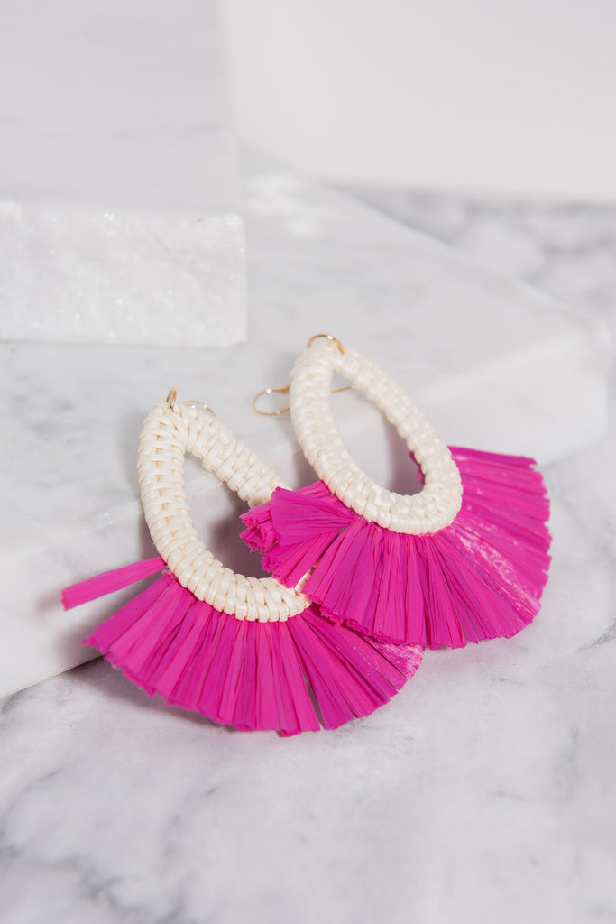 Can't Miss This Earrings, Fuchsia