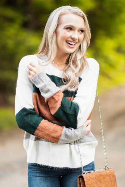 Life Of Comfort Rust Multi Colorblock Sweater