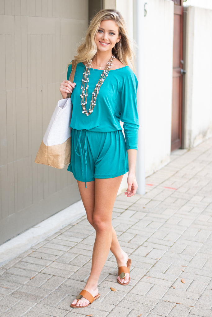romper, solid, solid romper, turquoise, turquoise romper, long sleeve, long sleeve romper, stretchy, comfy, summer romper, vacation romper, beach romper, hannahg, hannah g, hannah godwin