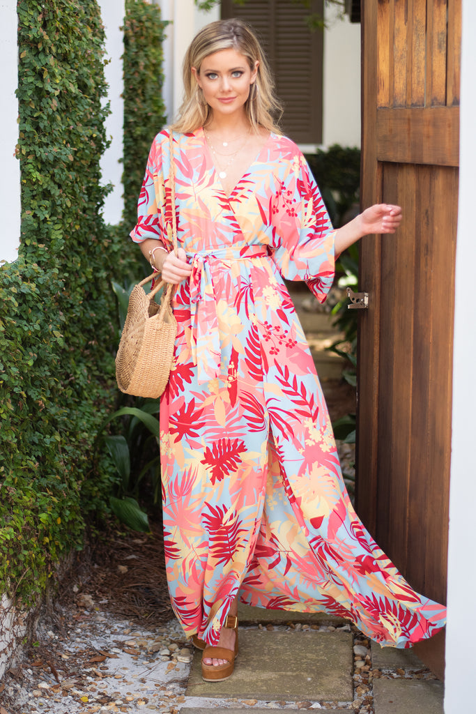 Out For The Day Maxi Dress, Red-Multi