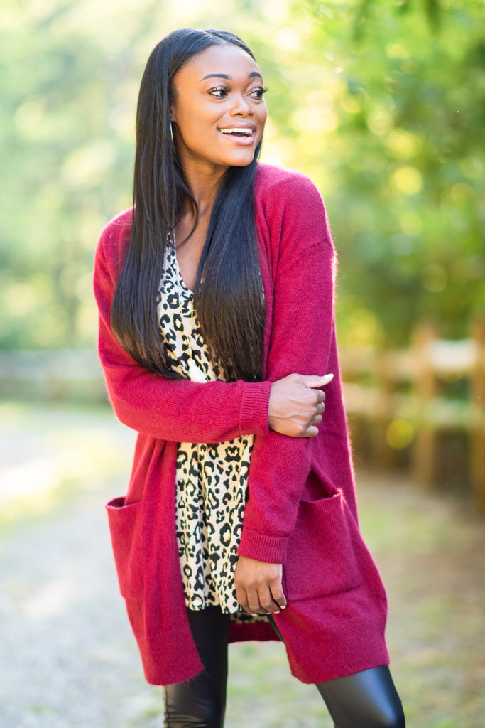 fall, cardigan, fall cardigan, long sleeves, classic fit, adorable, pockets, long sleeve with pockets, cardigan with pockets, cuffed long sleeves, generous stretch, red, red cardigan, red long sleeve cardigan