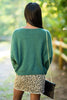 fall, sweater, classic, comfy, stretchy, open round neckline, cuffed long sleeves, generous stretch, green, green sweater