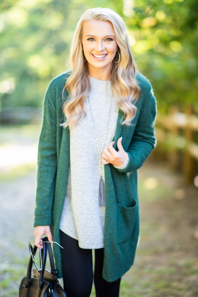 fall, cardigan, fall cardigan, long sleeves, classic fit, adorable, pockets, long sleeve with pockets, cardigan with pockets, cuffed long sleeves, generous stretch, green, green cardigan, green long sleeve cardigan