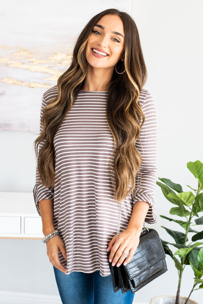 Easy To Love You Mocha Brown Striped Top