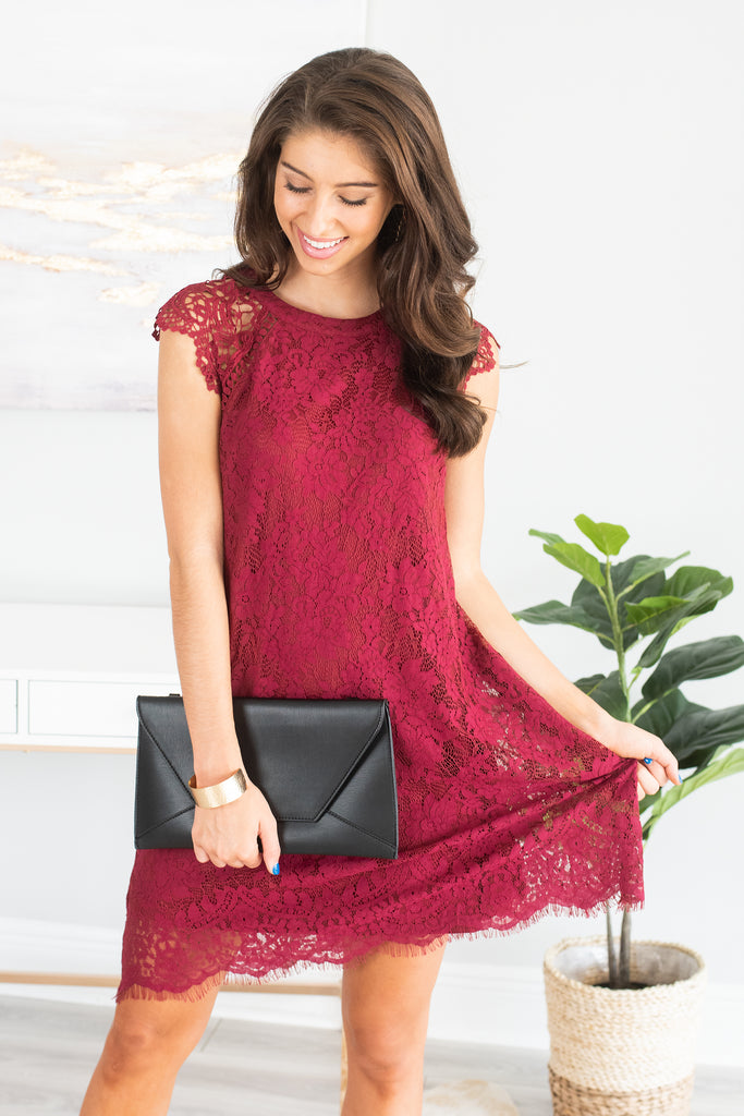red lace dress, short sleeve red lace dress, burgundy red lace dress, cocktail dress, holiday party dress, party dress, generous fitting dress, lace dress,
