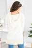 long sleeves, short v-neckline, hood, popcorn fabric, white, pullover