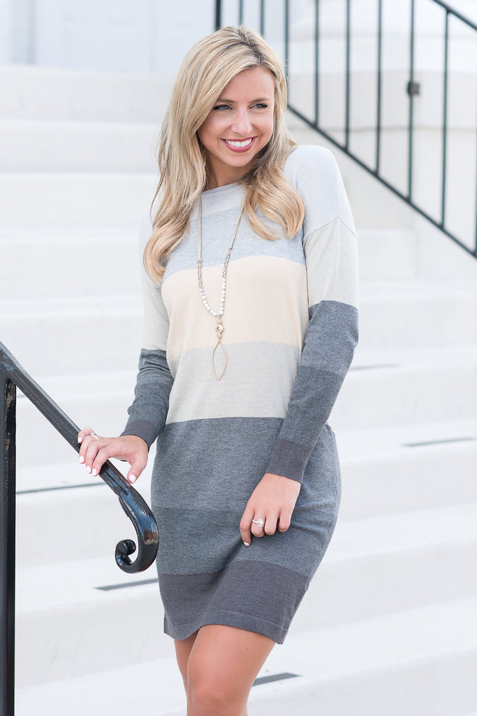 Color Block Sweater Dress, Heather Gray-Charcoal