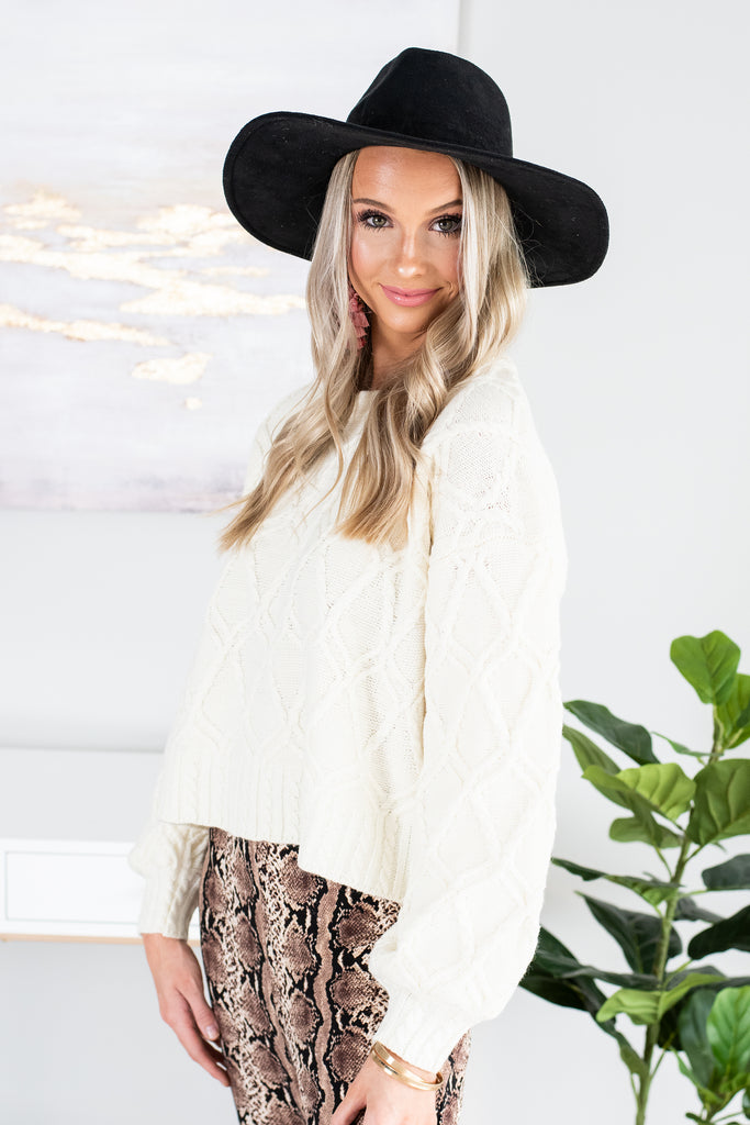 Down In Denver Cream White Cable Knit Sweater