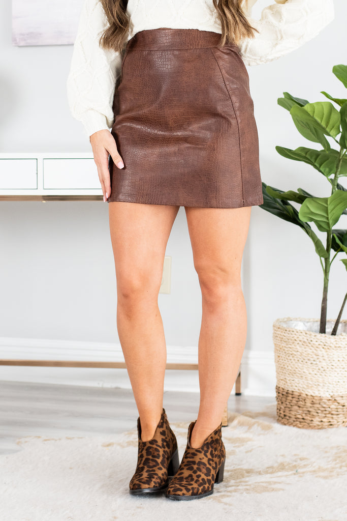 Give It Your All Camel Crocodile Vegan Leather Skirt