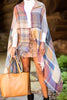 top, poncho, plaid top, plaid poncho, multicolored plaid poncho, multicolored poncho, poncho with fringe, multicolored poncho with fringe, brown top, brown plaid top, brown plaid poncho, brown multicolored plaid poncho with fringe, accessories,