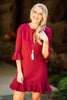fall, dress, peppy, feminine, ruffled hemline, year round, round neckline, 3/4 sleeves, peplum sleeves, red, red dress, red fall dress