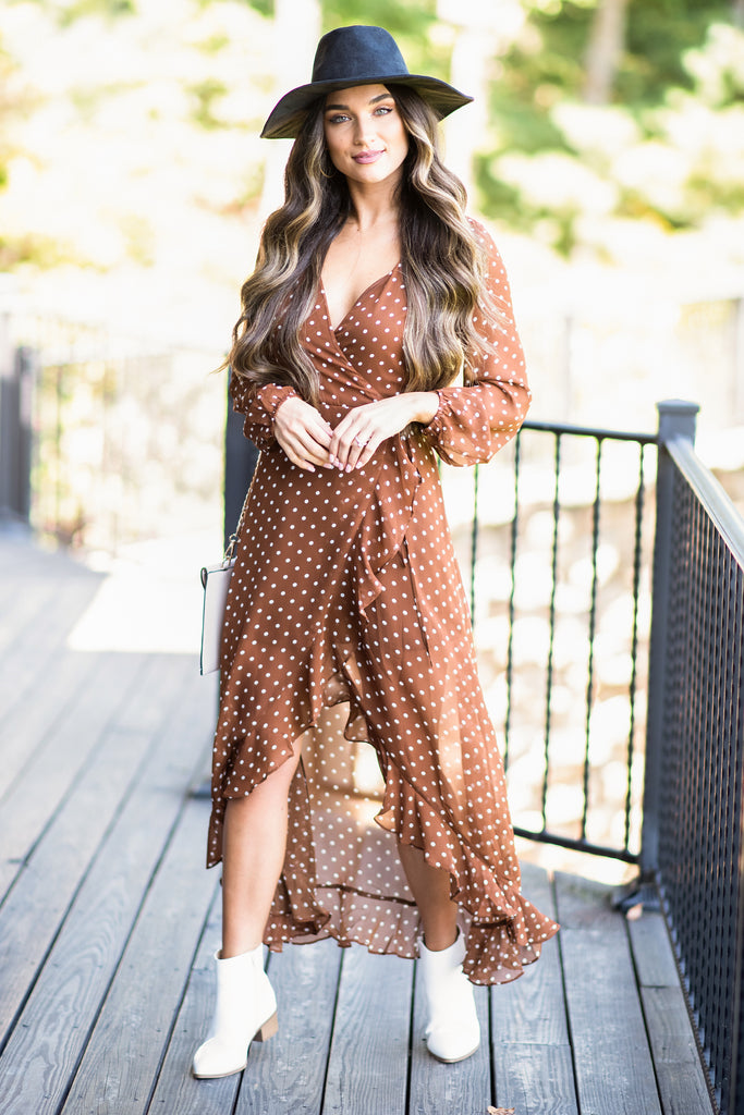 fall, dress, fall dress, classy, flattering, polka dots, maxi dress, high low hemline, ruffled hem, wrap fit, surplice neckline, no stretch, orange, orange dress, orange maxi dress