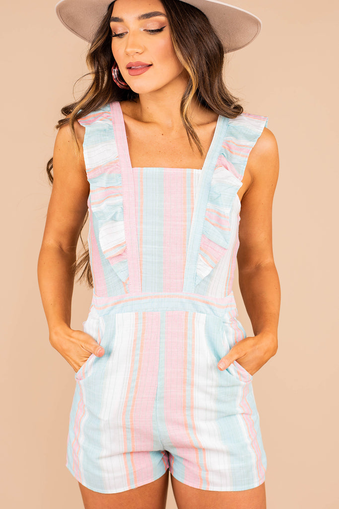striped romper, romper, square neckline, partial lining, ruffled straps, stripes, pockets, colorful