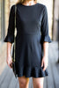 fall, dress, peppy, feminine, ruffled hemline, year round, round neckline, 3/4 sleeves, peplum sleeves, black, black dress, black fall dress