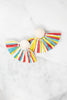 Mud Pie: Raffie  White Multi Fan Earrings