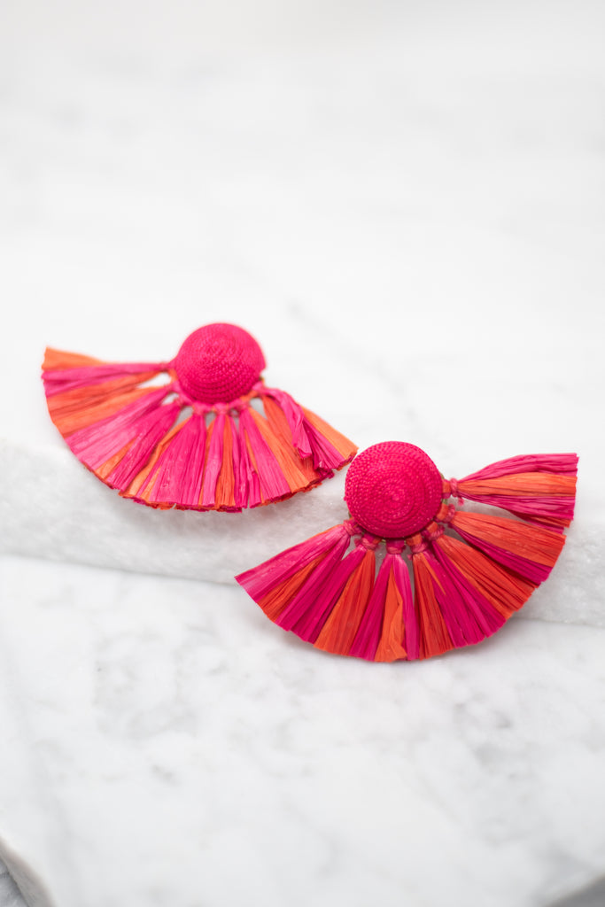 Mud Pie: Raffie Fan Earrings, Pink