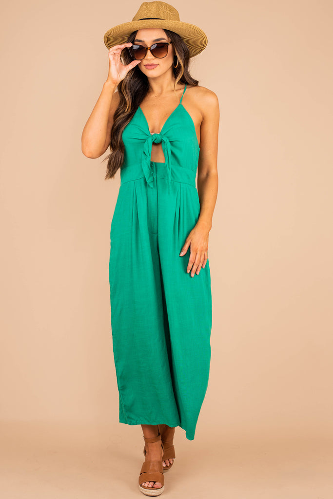 jumpsuit, green jumpsuit, wide cropped legs, tie front bust detail, smocked back, v-neckline, sleeveless