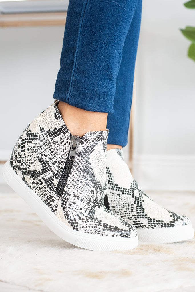 shoes, sneakers, wedge sneakers, snake print wedge sneakers, snake print wedge sneakers with zippers, brown snake print wedge sneakers with zipper, nude wedge sneakers, nude snake print wedge sneakers with zippers,