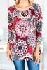 fall, top, generous fit, off the shoulder, trendy, smooth, stretchy, bold pattern, shoulder neckline, medallion print, long sleeves, long sleeve top, burgundy, burgundy top
