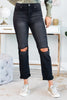 fall, bottoms, pants, jeans, cute, casual, ripped detailing, button/fly waist, jeans with pockets, cuffed hem, black, black jeans