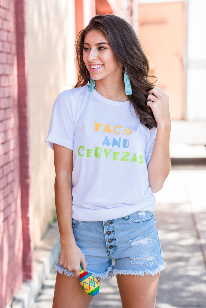 Tacos And Cervezas Tee, White