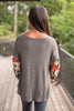 fall, top, winter, floral, bubble fit, knit fabric, soft, waffle knit, casual fit, floral detailing, bubble sleeves, wide neckline, generous stretch, charcoal, charcoal top