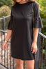 fall, dress, fall dress, classic, feminine, round neckline, peplum sleeves, shift fit, minimal stretch, black, black dress