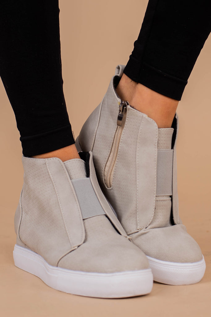 versatile, comfy, gray, wedge, sneakers