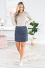 bottoms, skirt, solid, solid skirt, navy, navy skirt, blue, blue skirt, buttons, button down, summer, summer skirt, fall, fall skirt, night out, concert, everyday, shopping