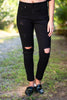 Big Time Love Black Distressed Skinny Jeans