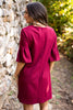 chic dress, fall, winter, ruby, red, dress, round neckline, peplum hem, short sleeves, shift fit, shift dress, ruffled sleeves