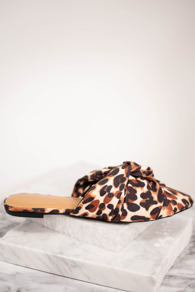 leopard mule flats, brown, leopard print, layered, knotted fabric, flats