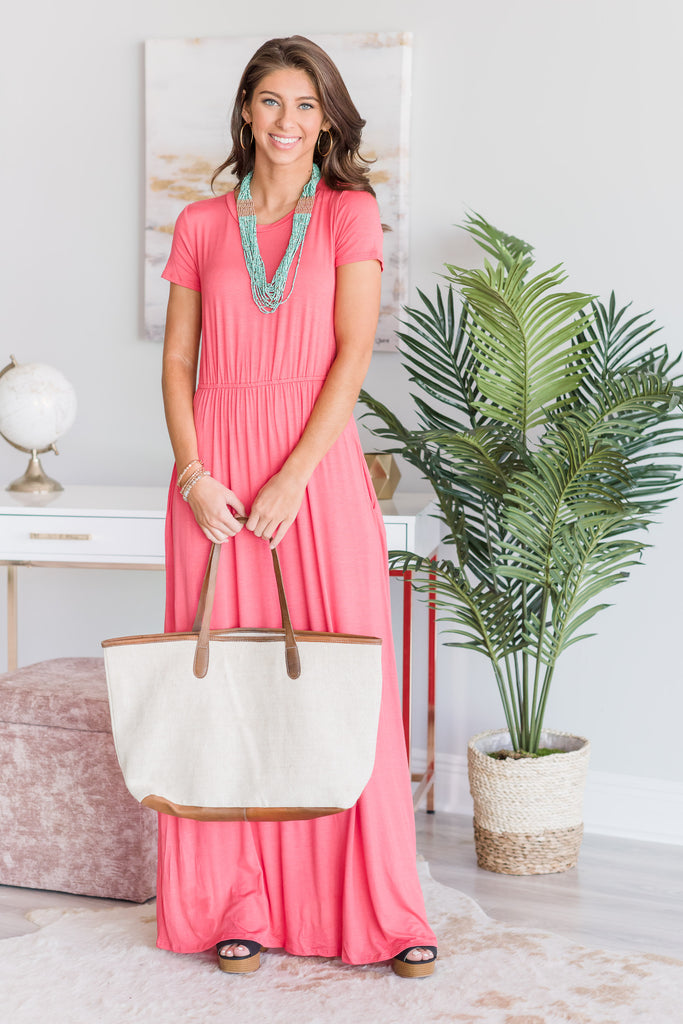 Travel Time Maxi Dress, Coral
