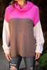 fall, winter, sweater, cowl neck, cowl neck sweater, cute, chic, cozy, warm, chunky cowl neck, long sleeves, long sleeve sweater, colorblock print, knit fabric generous stretch, pink, pink sweater, pink cowl neck sweater
