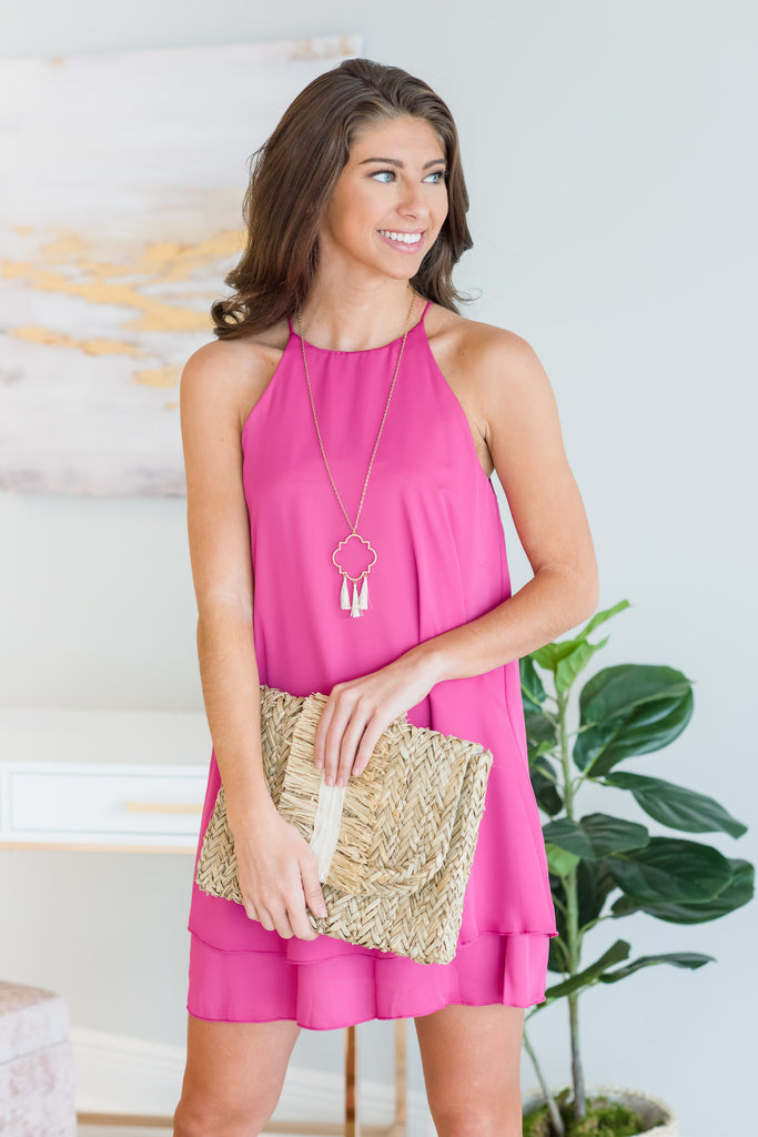 Feeling The Connection Dress, Fuchsia