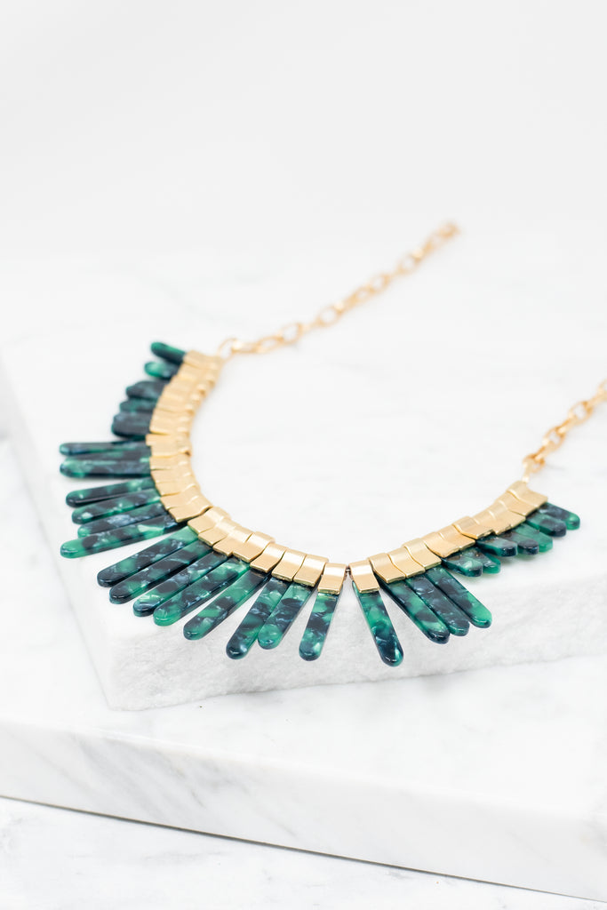 emerald green tortoise detailing, necklace, emerald, dramatic necklace