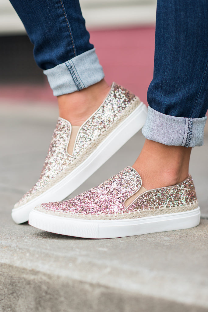 Shine Time Sneakers, Rose Gold