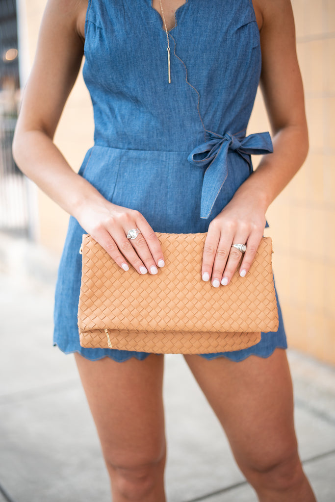 Find Out Who You Are Camel Brown Textured Clutch