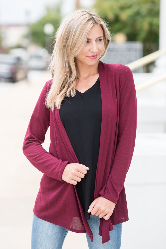 Undeniable Wine Red Classic Cardigan