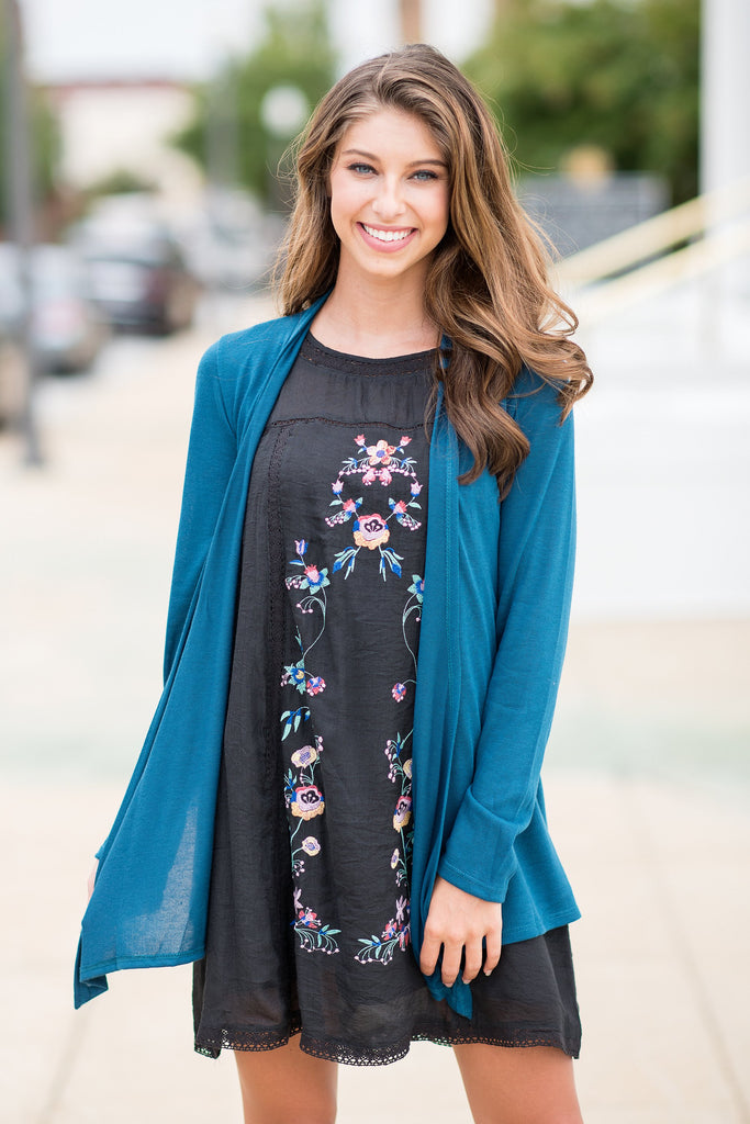 Undeniable Teal Blue Classic Cardigan