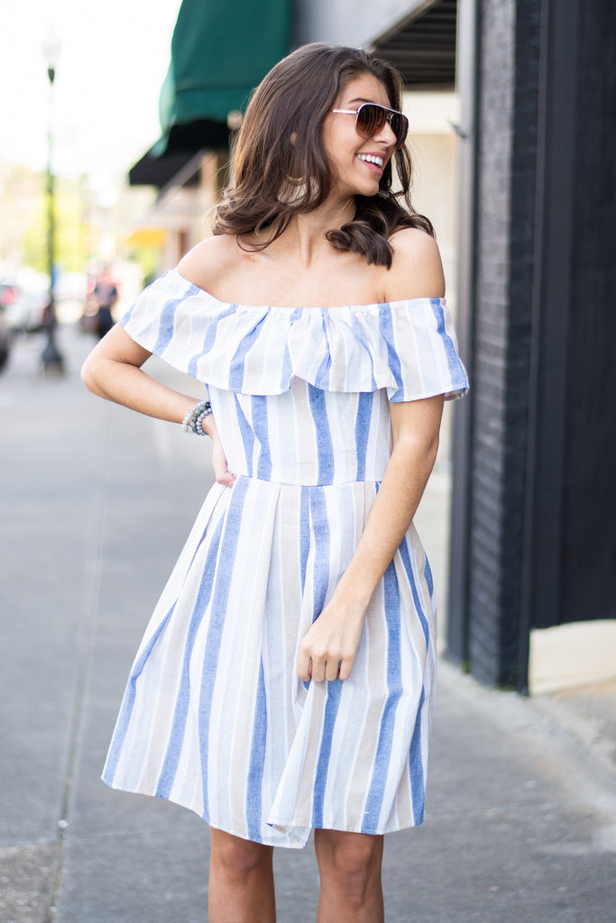 Seek You Out Taupe Brown and Powder Blue Striped Dress